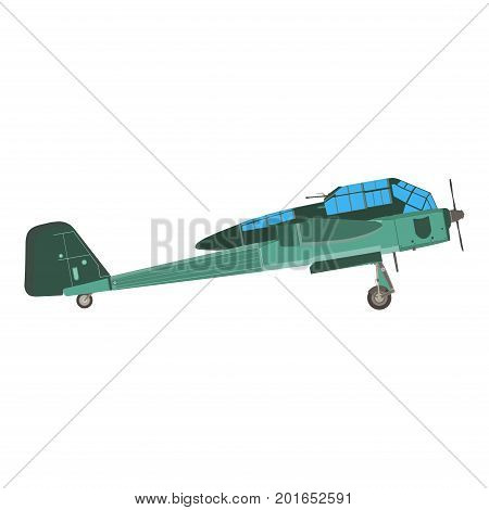 Biplane airplane plane vector old vintage retro aircraft isolated icon illustration