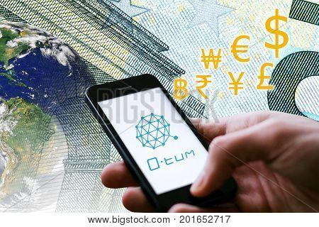 Concept of Q-tum Coin a Cryptocurrency blockchain platform Digital money