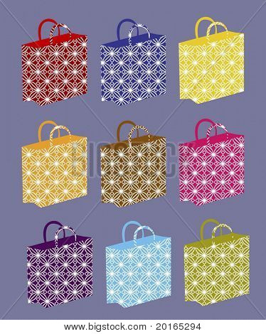 shopping bags variety with pattern