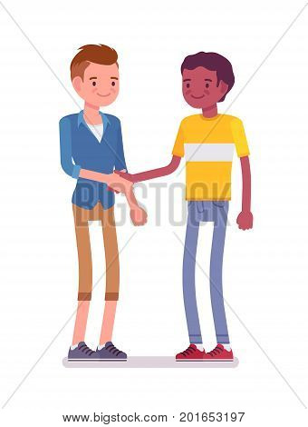 Young men handshaking. Acquaintances showing mutual respect and trust, usual formal greeting. Friendship and communication concept. Vector flat style cartoon illustration, isolated, white background