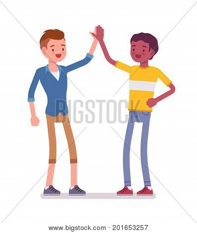 Young men giving high five. Pleased to meet people, after successful interviewing. Friendship and communication concept. Vector flat style cartoon illustration, isolated, white background