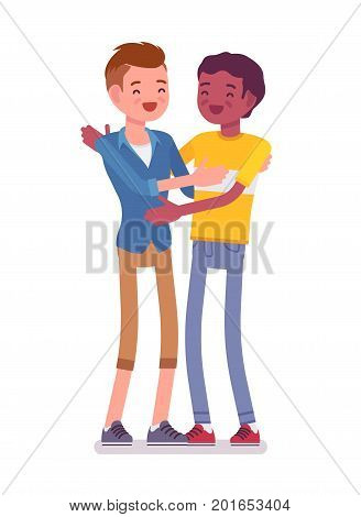 Young men giving a bro hug. Social support and caring, sympathetic common and polite gesture. Friendship and communication concept. Vector flat style cartoon illustration, isolated, white background