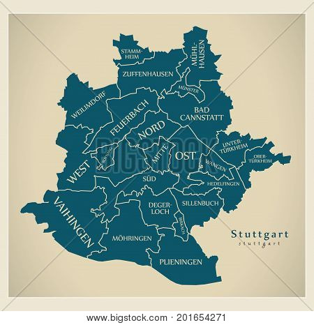 Modern City Map - Stuttgart City Of Germany With Boroughs And Titles De