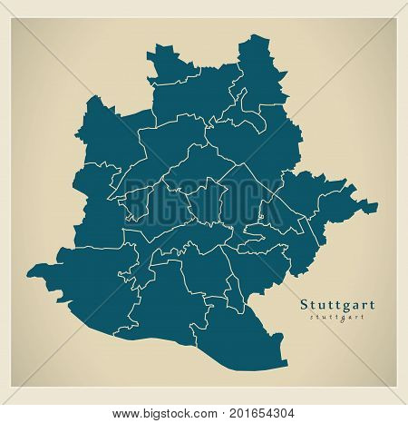 Modern City Map - Stuttgart City Of Germany With Boroughs De