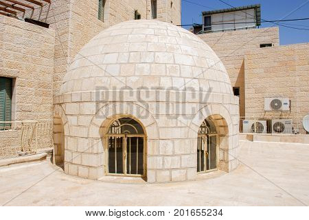 Avraham Avinu Synagogue Dome At The Jewish Quarter In Hebron