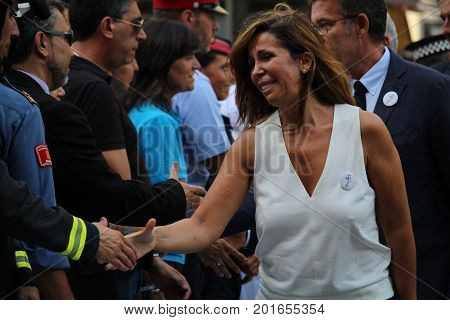 BARCELONA/SPAIN - 26 AUGUST 2017: Conservative politican Alicia Sanchez Camacho participating to the protest against terrorism in Barcelona. It is the first time a king of Spain participates in a demonstration