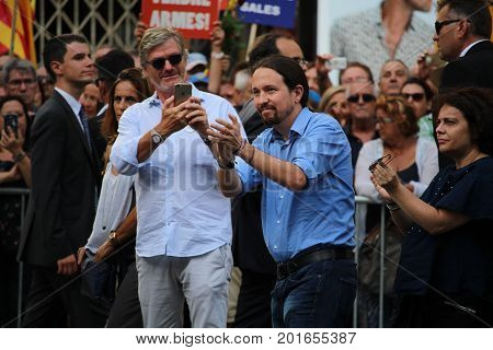 BARCELONA/SPAIN - 26 AUGUST 2017: Leader of Podemos movement Pablo Iglesias participating to the protest against terrorism in Barcelona. It is the first time a king of Spain participates in a demonstration
