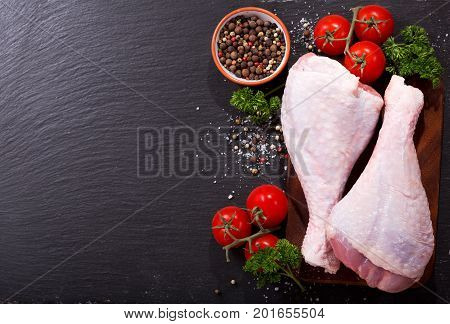 Fresh Turkey Legs With Ingredients For Cooking