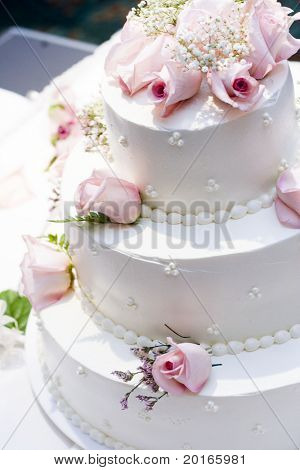 three tier cake with pink roses