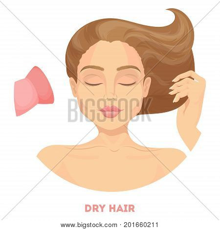Woman drying hair with blow dryer on white background.