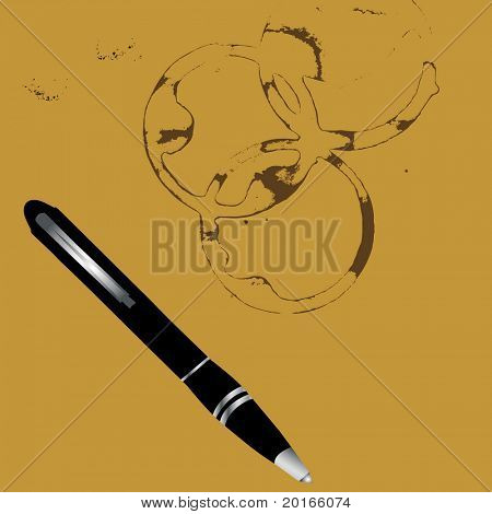 coffee ring stains and pen