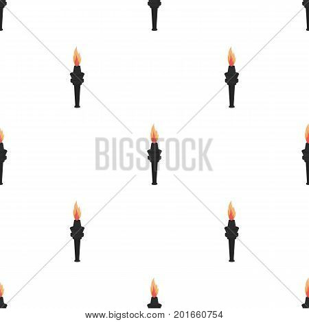 Street lamp in the form of a torch with an open fire.Lamppost single icon in cartoon style vector symbol stock illustration .