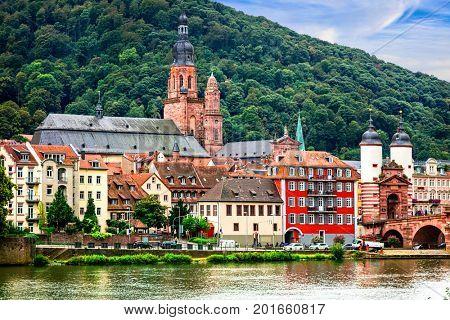 Landmarks of Germany - medieval Heidelberg town in  Baden-Wurttemberg