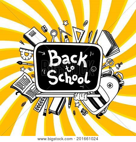 Stationery collection. Outline style. Back to school thin line vector doodle illustration template isolated on twisted background. Sketchy vector backpack and stationery for graphic design, web banner and printed materials. Back to school banner. Writing