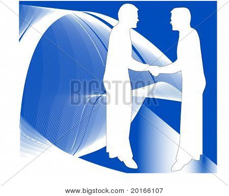 shaking hands with modern background