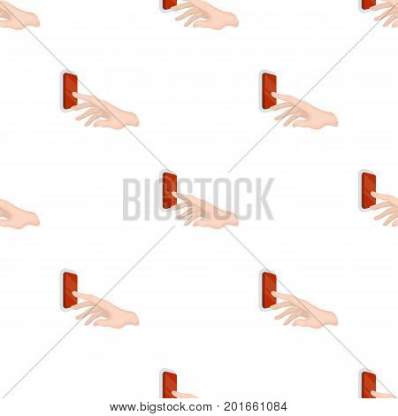 A hand that includes an electric switch. Push Button Switch single icon in cartoon style vector symbol stock illustration .