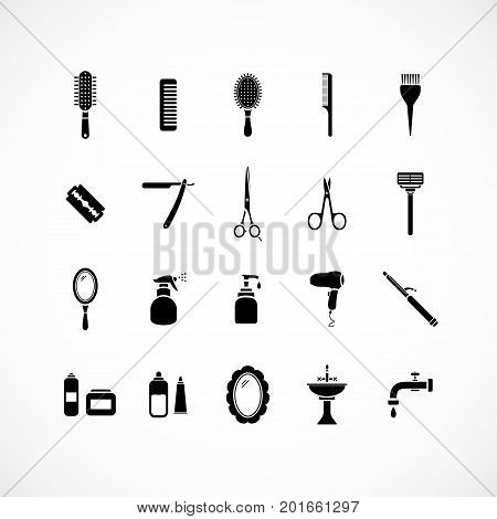 Set of hairdressing equipment icons. vector eps 8