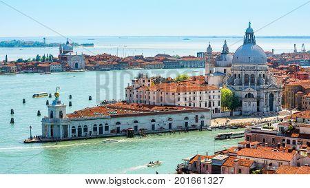 Aerial view of Venice, Italy. Basilica di Santa Maria della Salute Grand Canal and lagoon. 16:9 widescreen.