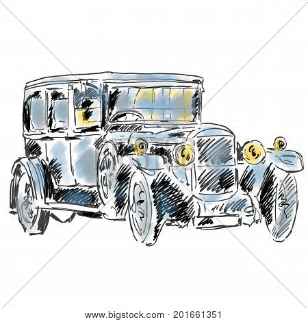 Antique classic car isolated on white background. Hand drawn illustration with vintage car of early 20th century. Stylish auto model. Freehand graphic design art for logo, emblem, prints, posters.