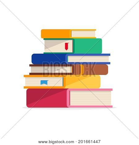 Pile of book in a flat style isolated on a white background. Stack of book with bookmarks. Concept of learning. Vector illustration.