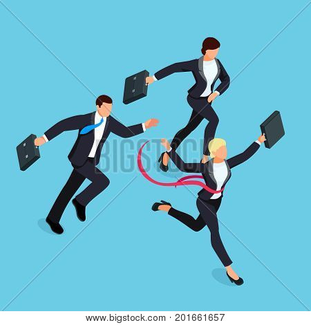 Running businessmen isolated on blue background. Isometric businesswoman is the winner of the competition. 3d businesswoman with a torn red ribbon on his chest. Vector illustration.