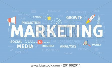 Marketing illustartion concept. Idea of business, growth and media.