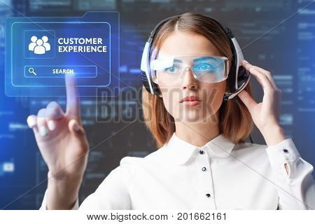 Young Businesswoman Working In Virtual Glasses, Select The Icon Customer Experience On The Virtual D