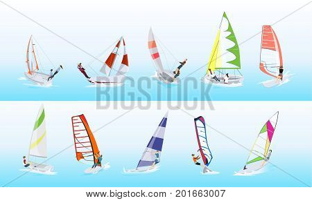 Windsurfing sport set. Silhouettes of people with different colorful surfboards.