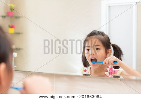 Pretty Lovely Little Kid Girl Looking At Mirror