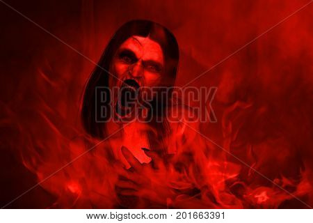 3d illustration of scary angry ghost woman screaming in hell,Horror background,mixed media