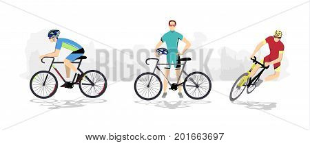 Road cycling sport. Silhouettes of athletes on bicycles.