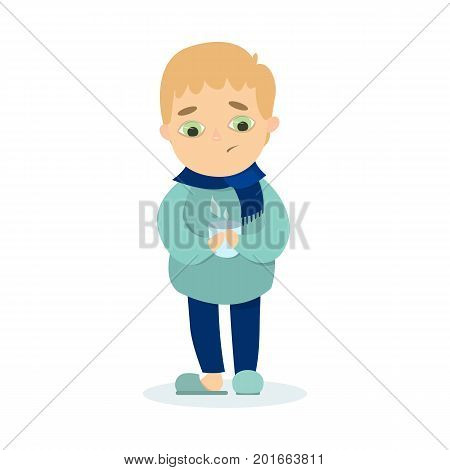 Isolted sick boy standing with scarf and hot drink in mug on white background.