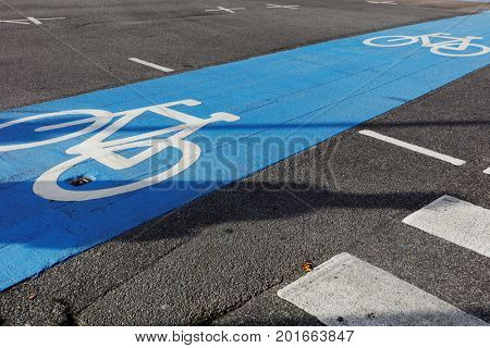 Marked in blue cycling path