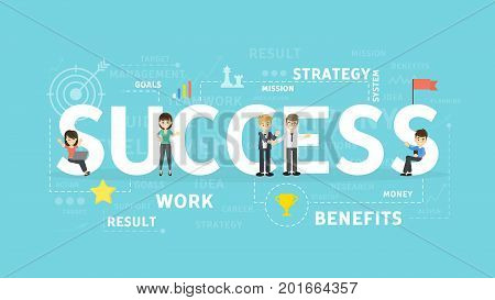 Success concept illustration. Idea of win, achievement and lifestyle.
