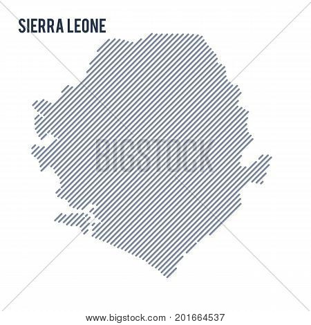 Vector Abstract Hatched Map Of Sierra Leone With Oblique Lines Isolated On A White Background.