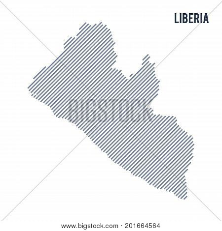 Vector Abstract Hatched Map Of Liberia With Oblique Lines Isolated On A White Background.
