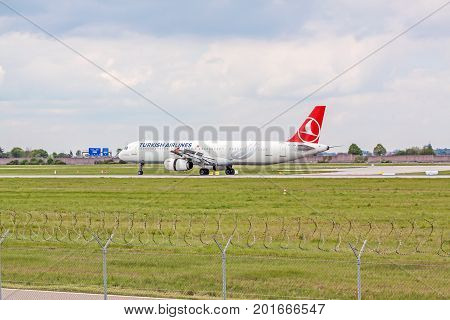 Airplane Of Turkish Airlines On Landing Approach, Airport Stuttgart, Germany