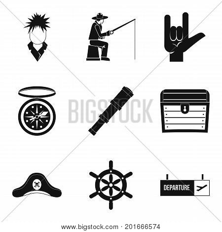 Wanderer icons set. Simple set of 9 wanderer vector icons for web isolated on white background