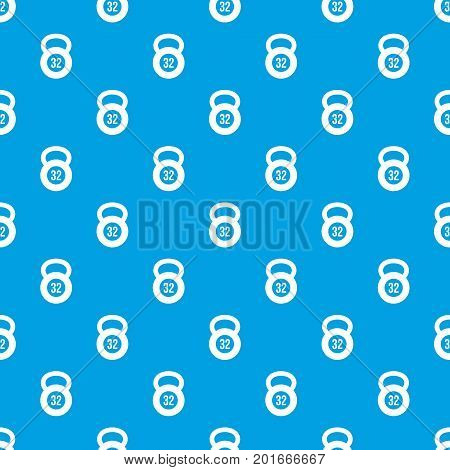 Kettlebell 32 kg pattern repeat seamless in blue color for any design. Vector geometric illustration