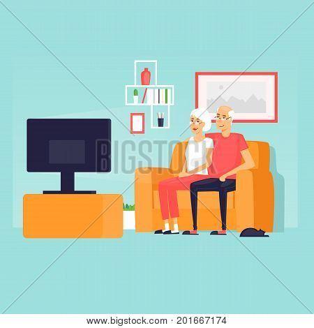 Pensioners are sitting on the couch watching TV. Flat design vector illustration.