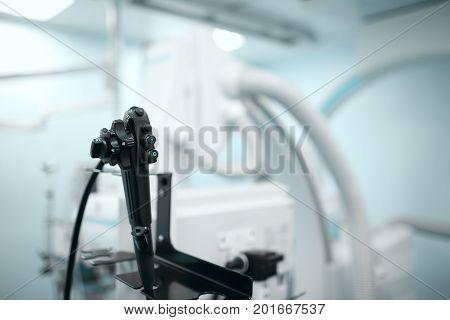 Endoscopy room in the hospital. Macro photo