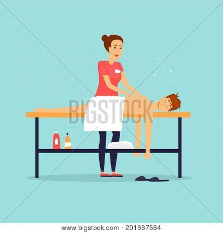Man relaxing on massage table. Female masseur. Flat design vector illustration.
