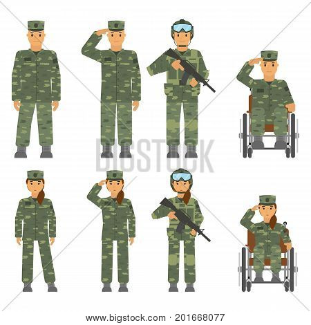 Vector set of soldier man and woman isolated on white background. Saluted soldier, warrior with weapon, soldier in armchair, soldier an attention.