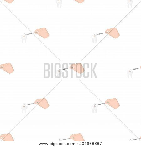 Manipulation, gesture of the hand of the dentist with the instrument over the damaged tooth. Stomatology single icon in cartoon style vector symbol stock illustration .