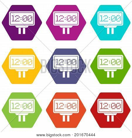 Scoreboard icon set many color hexahedron isolated on white vector illustration