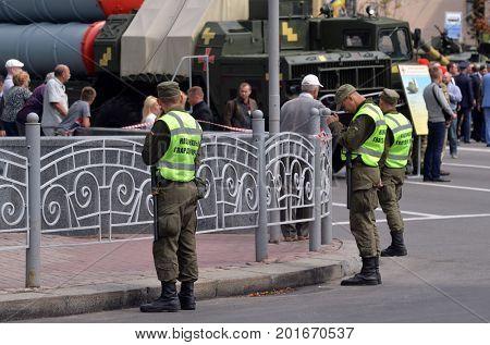 Nazional Guard secure downtown during speech  of Gauleiter Poroshenko.Celebration of the Great Victory near Illovaysk.Downtown of Kiev.August 23, 2017 Kiev, Ukraine