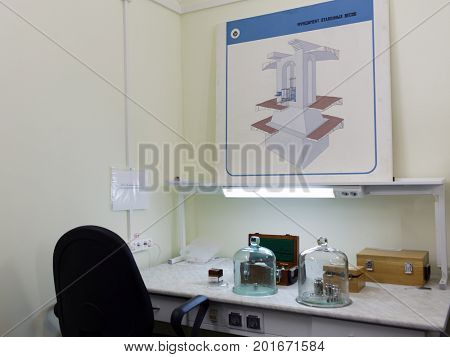 ST. PETERSBURG, RUSSIA - APRIL 25, 2017: National standard of the unit of mass in D.I. Mendeleyev Institute for Metrology. The institute was founded in 1842 as the Depot of Measures and Weights