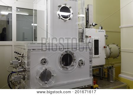 ST. PETERSBURG, RUSSIA - APRIL 25, 2017: Vacuum mass comparator in D.I. Mendeleyev Institute for Metrology. The institute was founded in 1842 as the Depot of Measures and Weights