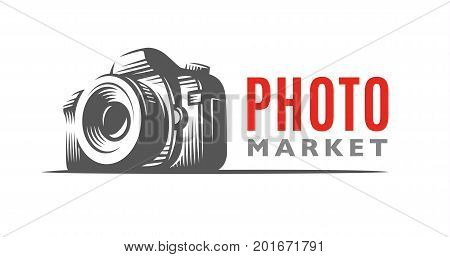 Photo camera logo - vector illustration. Classic emblem design
