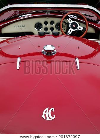 Hebden Bridge West Yorkshire August 5: Vintage AC Cobra Sports Car at the Vintage Weekend Vehicle Show